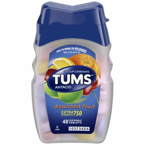 Tums Extra Strength Assorted Fruit Flavor Antacid Chewable Tablets Perspective: front