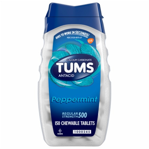 Tums Regular Strength Peppermint Chewable Tablets Perspective: front