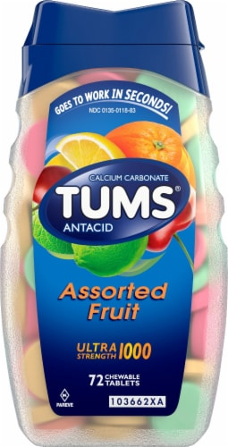 Tums Assorted Fruit Ultra Strength Chewable Antacid Chewable Tablets Perspective: front