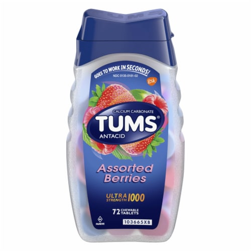 Tums Assorted Berries Ultra Strength Antacid Chewable Tablets Perspective: front