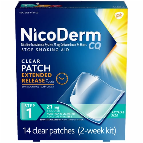 NicoDerm CQ Step 1 Clear Nicotine Patches 21mg Perspective: front