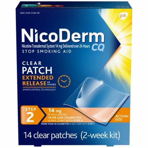 NicoDerm CQ Step 2 Clear Nicotine Patches 14mg Perspective: front
