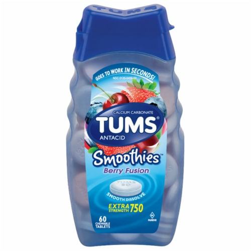 Tums Smoothies Berry Fusion Antacid Chewable Tablets Perspective: front
