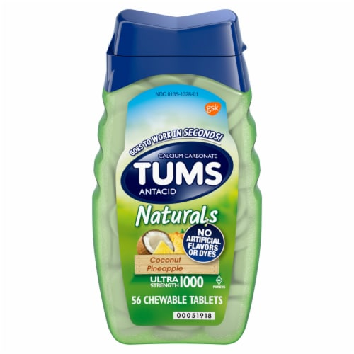 Tums Naturals Coconut Pineapple Antacid Tablets 1000mg Perspective: front