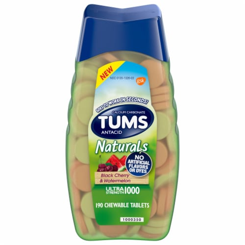Tums Naturals Black Cherry Watermelon Antacid Tablets Perspective: front