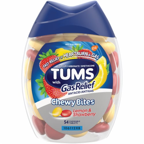 Tums with Gas Relief Lemon & Strawberry Chewy Bites Antacids Perspective: front