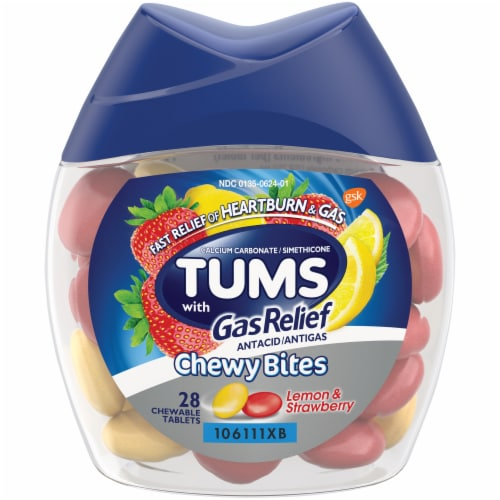 Tums with Gas Relief Lemon & Strawberry Chewy Bites Antacid Chewable Tablets Perspective: front