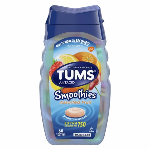 Tums Smoothies Assorted Fruit Extra Strength Antacid Chewable Tablets Perspective: front