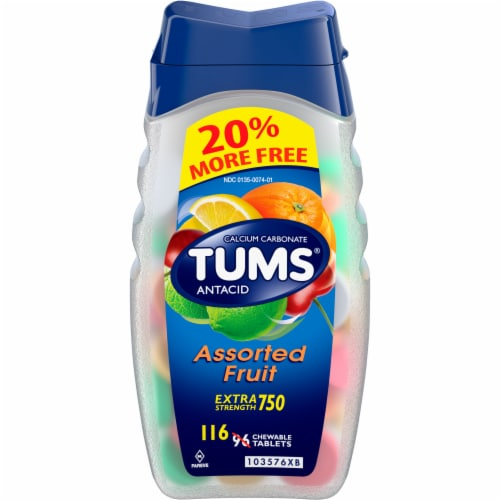 Tums Extra Strength Assorted Fruit Antacid Chewable Tablets Perspective: front