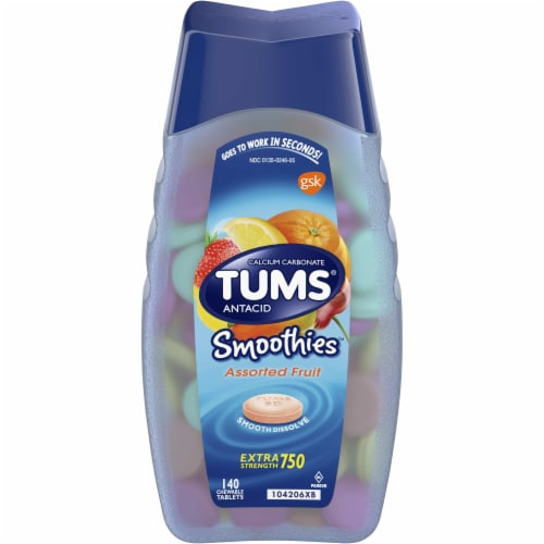 Tums Smoothies Extra Strength 750 Assorted Fruit Antacid Tablets Perspective: front
