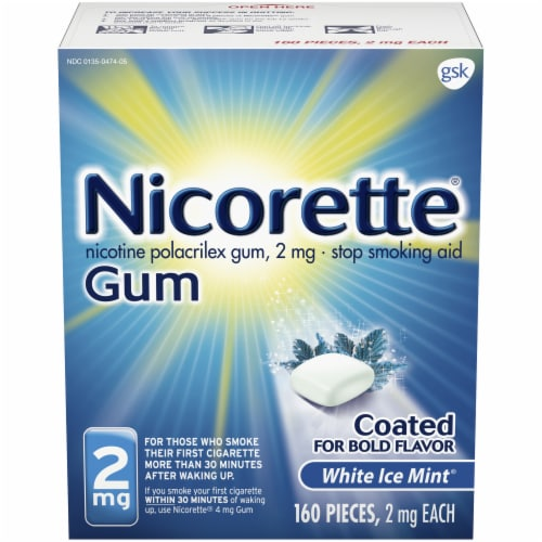 Nicorette White Ice Mint Nicotine Gum 2mg Perspective: front