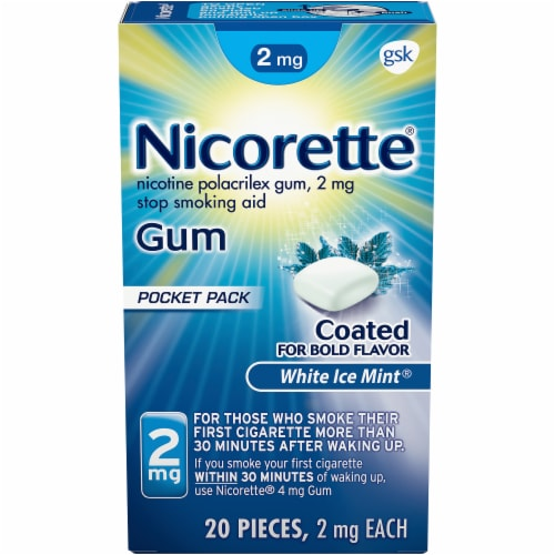Nicorette Smoking Cessation White Ice Mint 2mg Gum Perspective: front