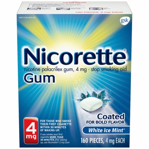 Nicorette White Ice Mint Nicotine Gum 4mg Perspective: front
