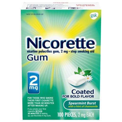 Nicorette Spearmint Burst Nicotine Gum 2mg 100 Count Perspective: front