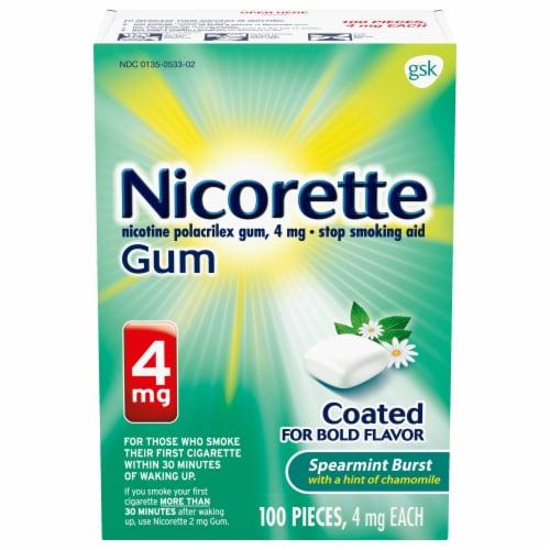 Nicorette Spearmint Burst Nicotine Gum 4mg Perspective: front