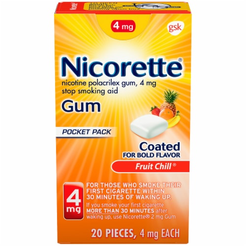 Nicorette Fruit Chill Nicotime Gum 4mg Perspective: front