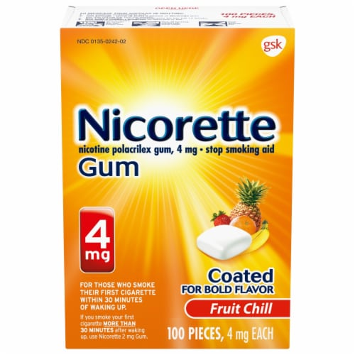 Nicorette Fruit Chill Nicotine Gum 4mg Perspective: front