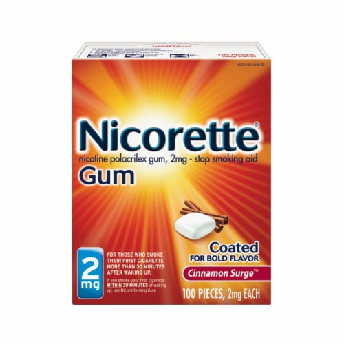 Nicorette Smoking Cessation Cinnamon Surge Coated Gum 2mg 100 Count Perspective: front
