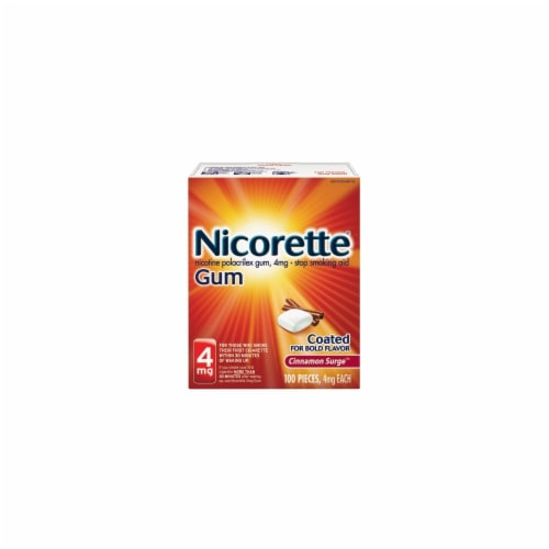 Nicorette Smoking Cessation Cinnamon Surge Nicotine Gum 4mg 100 count Perspective: front
