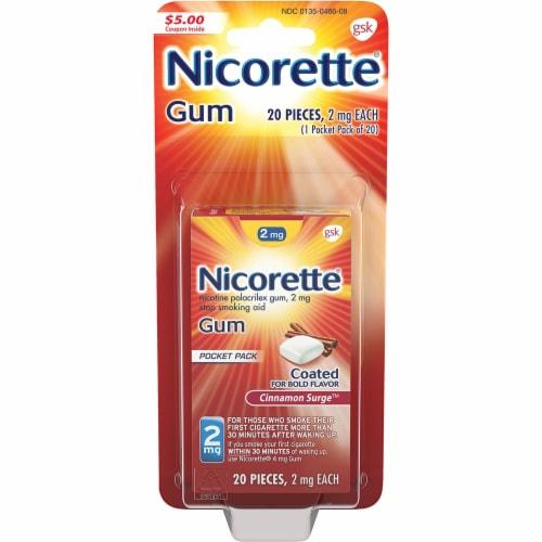 Nicorette® Cinnamon Surge Nicotine Gum 2mg Perspective: front