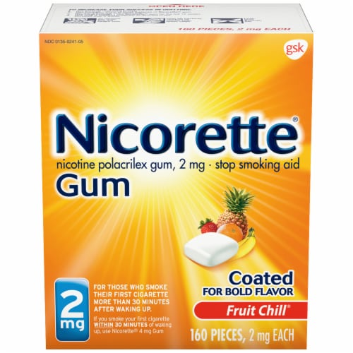 Nicorette Smoking Cessation Fruit Chill Nicotine Gum 2mg Perspective: front