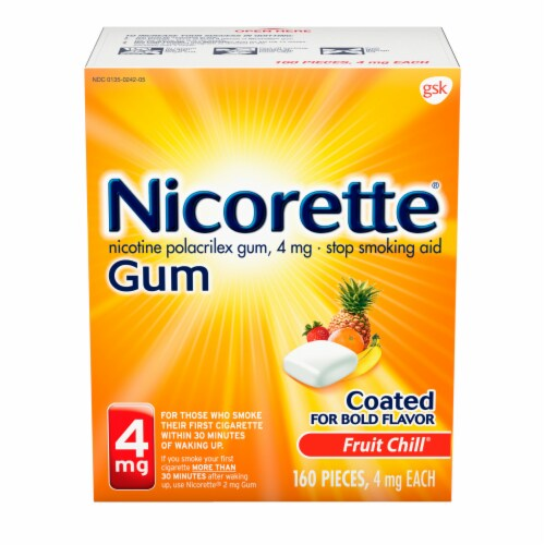 Nicorette Smoking Cessation Fruit Chill Nicotine Gum 4mg Perspective: front