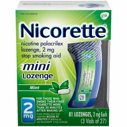 Nicorette Mint Nicotine Mini Lozenges 2mg Perspective: front