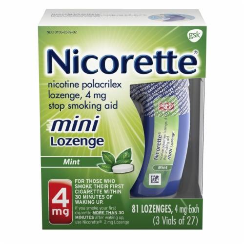 Nicorette Smoking Cessation Mint Flavor Mini Lozenges 4mg Perspective: front