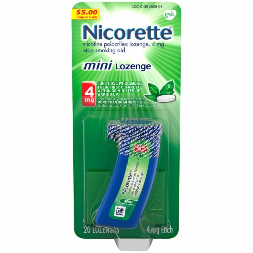 Nicorette Mint Mini Nicotine Lozenges 4mg Perspective: front