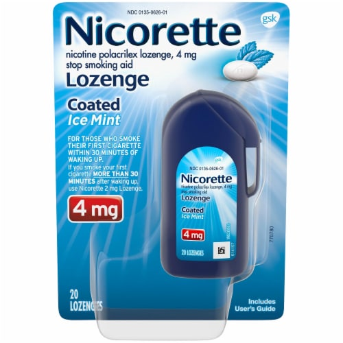 Nicorette Ice Mint 4mg Coated Lozenge 20 Count Perspective: front