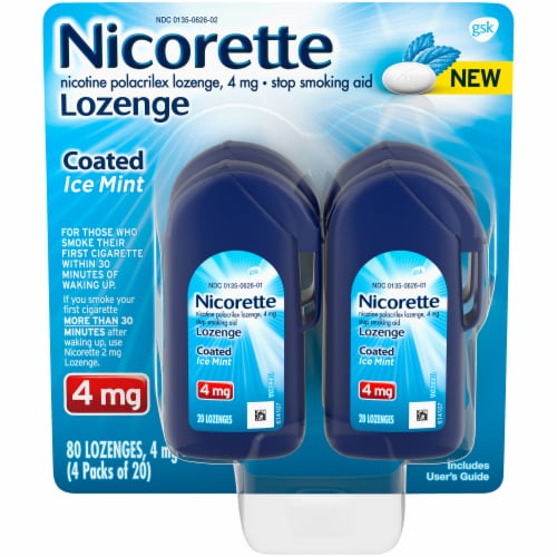 Nicorette Coated Ice Mint Lozenges 4mg Perspective: front