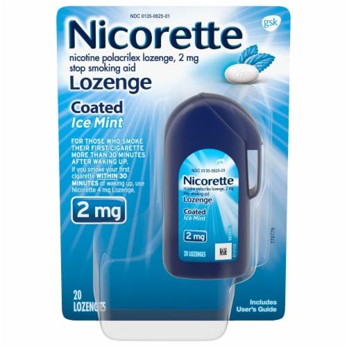 Nicorette Ice Mint 2mg Coated Lozenge Perspective: front