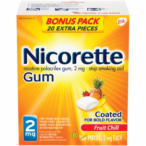 Nicorette Fruit Chill Nicotine Gum 2mg Perspective: front