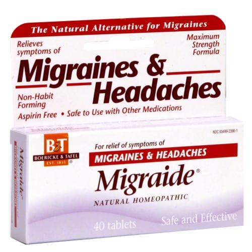Boericke & Tafel Migraide Relief of Migraines & Headaches Symptoms Perspective: front
