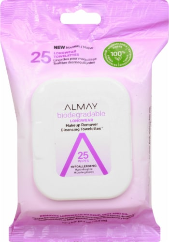 Almay Biodegradable Longwear Makeup Remover Cleansing Towelettes Perspective: front
