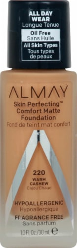 Almay Skin Perfecting Comfort Matte 220 Warm Cashew Foundation Perspective: front