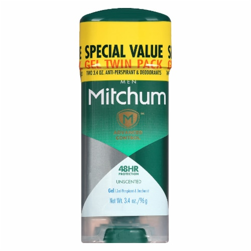 Mitchum Men's Advanced Control Unscented Gel Deodorant Perspective: front