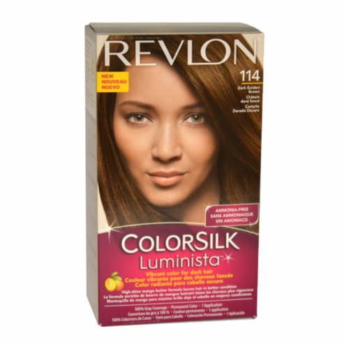 Revlon Color Silk Luminista 114 Dark Golden Brown Hair Color Perspective: front