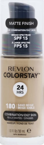 Revlon Colorstay Matte Finish Foundation for Combination/Oily Skin Sand Beige Makeup Perspective: front