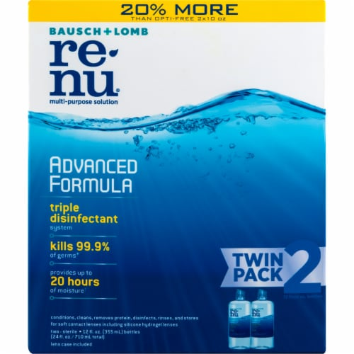 Bausch & Lomb Renu Advanced Formula Multi Purpose Solution Twin Pack Perspective: front