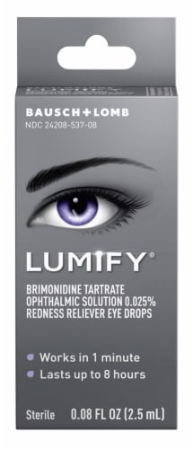 Bausch & Lomb Lumify Brimonidine Tartrate Opthalmic Solution Redness Reliever Eye Drops Perspective: front