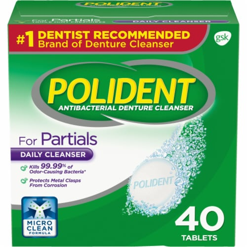 Polident Partials Antibacterial Denture Cleanser Tablets Perspective: front