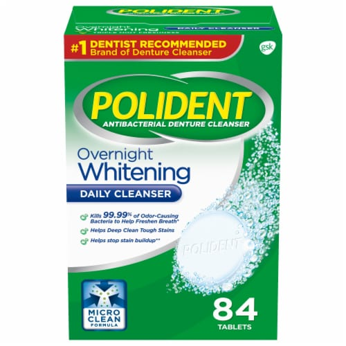 Polident Overnight Whitening Antibacterial Denture Cleanser Tablets Perspective: front