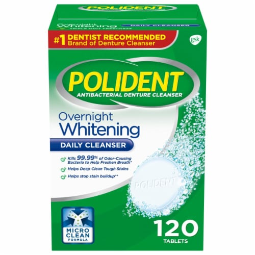 Polident Overnight Whitening Denture Cleanser Tablets Perspective: front