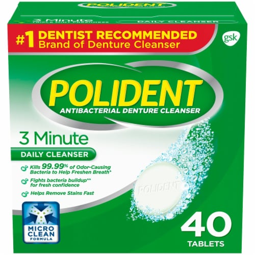 Polident 3 Minute Triple Mint Denture Cleanser Tablets 40 Count Perspective: front