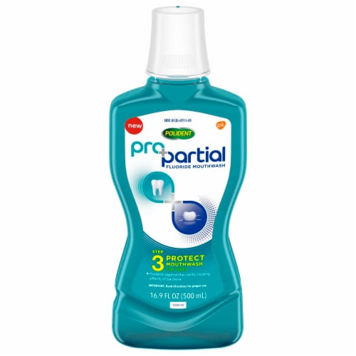 Polident Pro Partial Fluoride Mouthwash Perspective: front