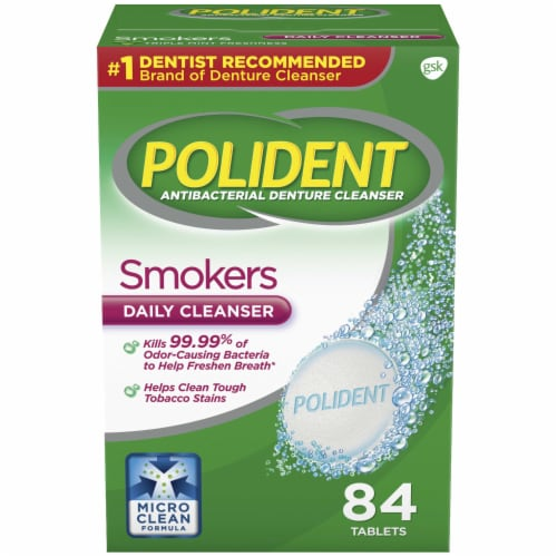 Polident Smokers Denture Cleanser Tablets Perspective: front