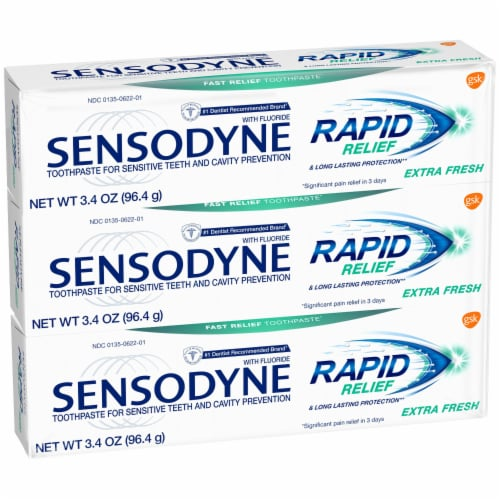 Sensodyne Rapid Relief Extra Fresh Sensitivity Toothpaste Perspective: front