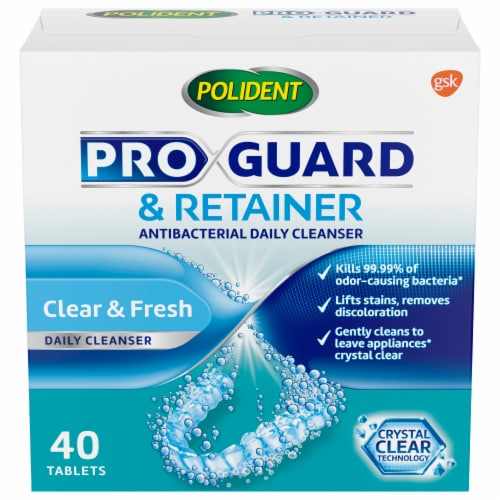 Polident ProGuard & Retainer Antibacterial Daily Cleanser Tablets Perspective: front