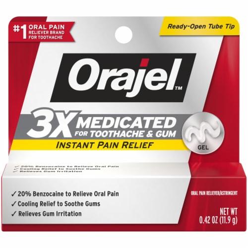 Orajel 3x Medicated Toothache & Gum Instant Pain Relief Gel Perspective: front